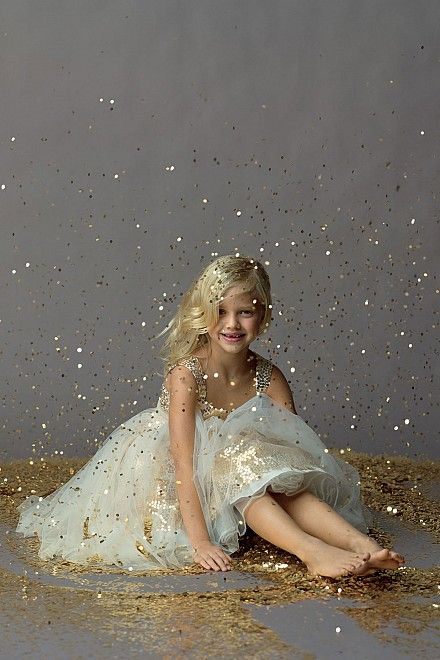 Watters Seahorse Sequin Gold Flower Girl Dress