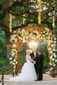 Twilight Metallic Glam Wedding At Sacred Oaks at Camp Lucy Texas