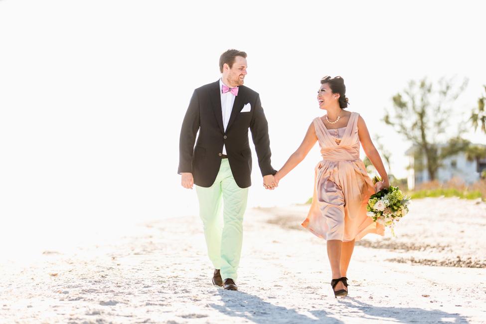 Preppy Retro Elopement Along the Florida Shoreline | Photograph by NikkiMayDay Photography  http://storyboardwedding.com/preppy-retro-elopement-florida-shoreline/
