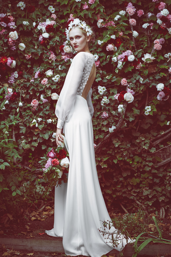 Stone Fox Bride Long Sleeve Wedding Dress Open Back