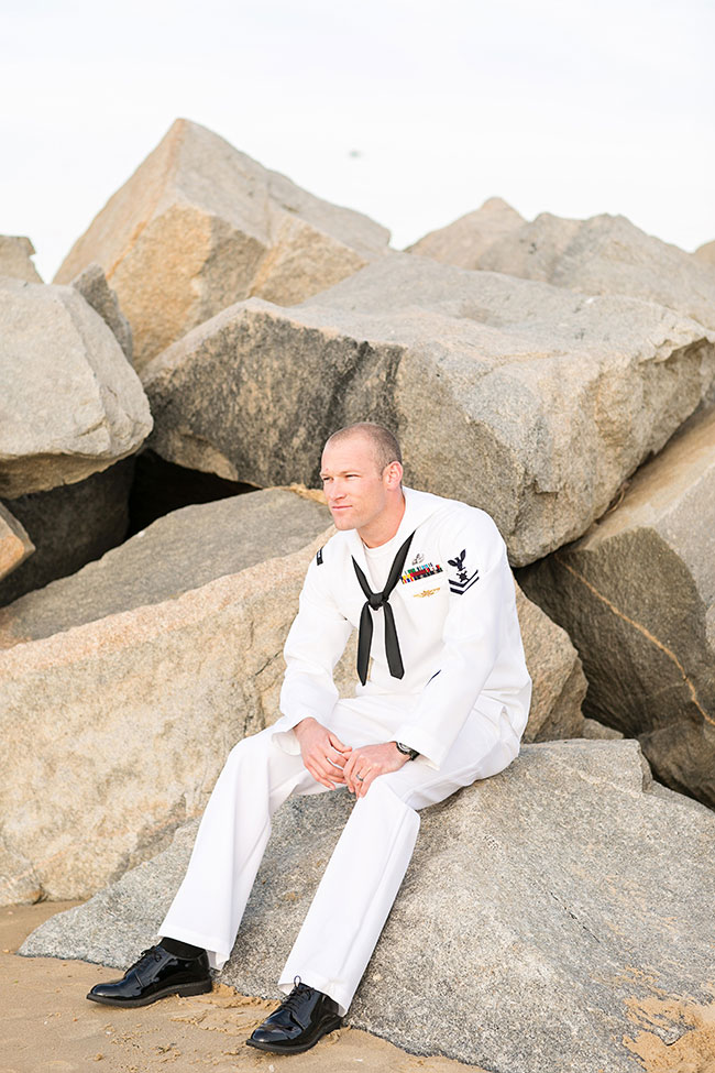 Military Infused Memorial Day Beach Wedding Along The Virginia Coastline | Photograph by Macon Photography  https://storyboardwedding.com/military-memorial-day-beach-wedding-virgina/