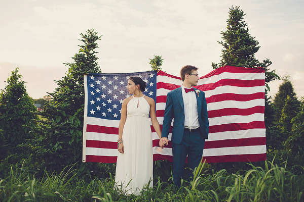 4th of July Wedding Couple