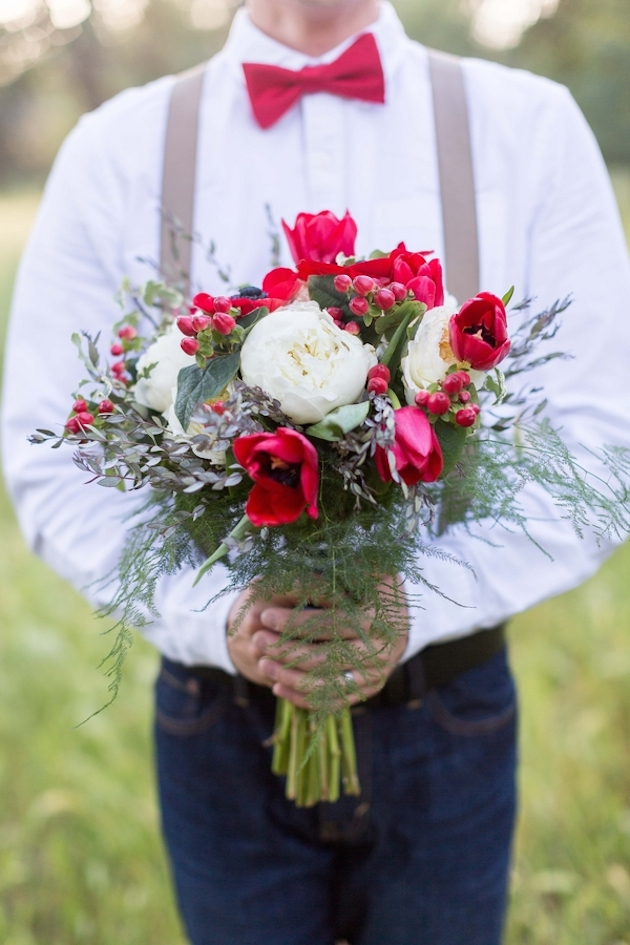 Fourth of July Inspired Bouquet and Groom