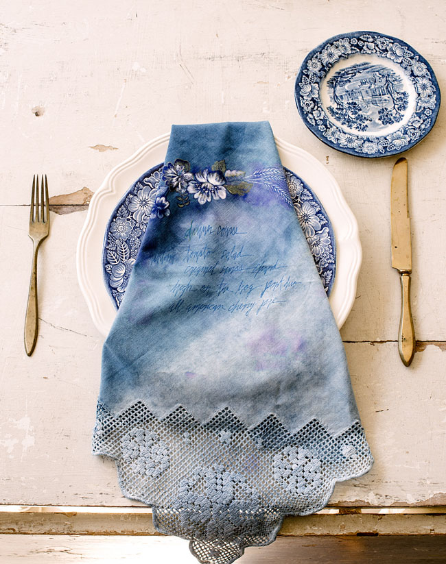 Independence Day Wedding Inspiration Indigo Place Setting