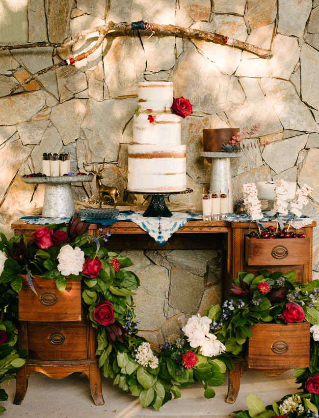 Independence Day Wedding Inspiration Wedding Cake Sweets Table