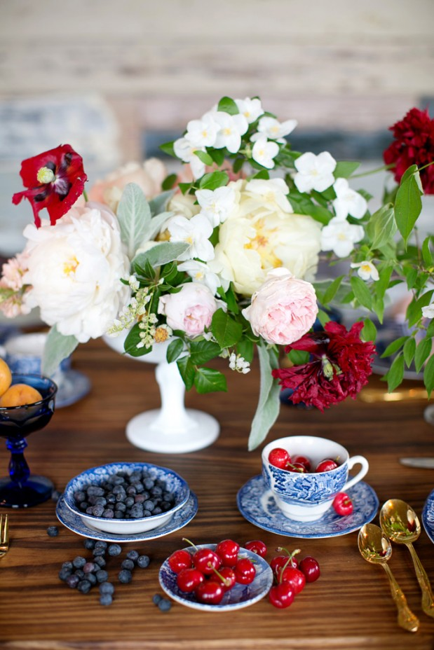 July 4th Red White Blue Rustic Table Setting Berries