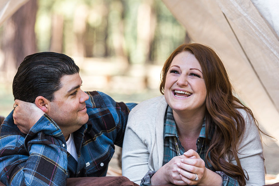 California Loving Camp Engagement Session Among The Pines | Photograph Jennifer Corbin Photography  See The Full Story At https://storyboardwedding.com/california-camp-engagement-session/