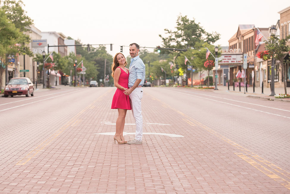 East Aurora Downtown Vintage Bike Engagement Session | Photograph by Alyissa Landri Photography  See The Full Story At https://storyboardwedding.com/east-aurora-downtown-vintage-bike-engagement-session/