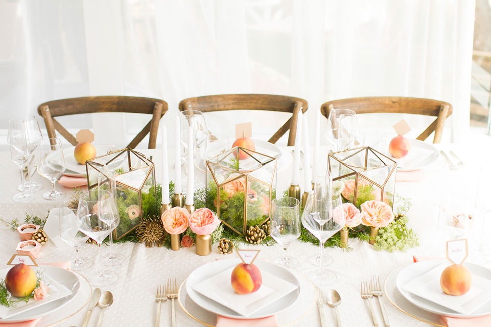 A Modern Geometric Wedding With Vintage Detailing & Rustic Touches | Photograph by Angie Capri Photography  See The Full Story At https://storyboardwedding.com/modern-geometric-wedding-vintage-details-rustic-decor/