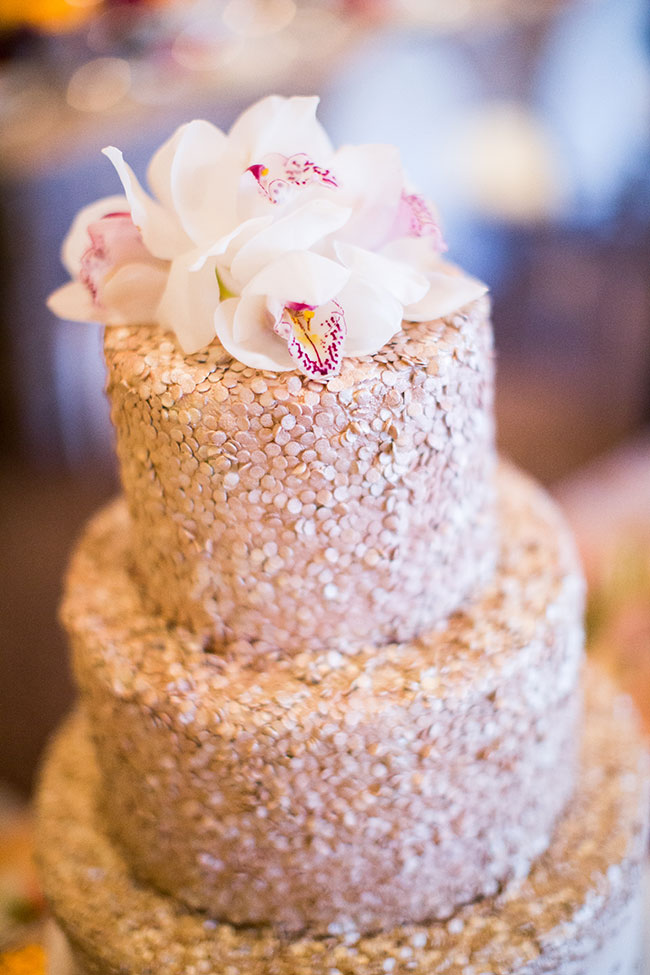 rose gold and silver wedding cake gold wedding confetti wedding cake 19273