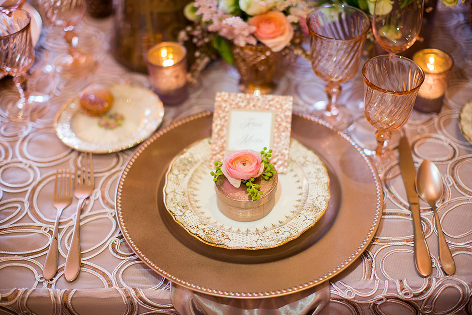 Sparkling Rose Gold Glamour Wedding Featuring A Dreamy Place Setting & Confetti Wedding Cake | Photograph by Michelle Lacson Photography  https://storyboardwedding.com/rose-gold-glamour-wedding-confetti-wedding-cake/