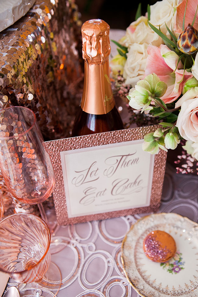 Sparkling Rose Gold Glamour Wedding Featuring A Dreamy Place Setting & Confetti Wedding Cake | Photograph by Michelle Lacson Photography  http://storyboardwedding.com/rose-gold-glamour-wedding-confetti-wedding-cake/