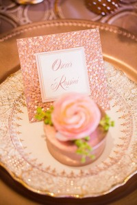 Sparkling Rose Gold Glamour Wedding Featuring A Dreamy Place Setting &...