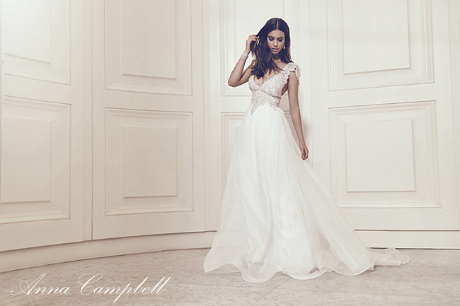 Anna Campbell Gossamer Collection Featuring Unique Custom Wedding Dress Options | Photograph by Bernard Gueit