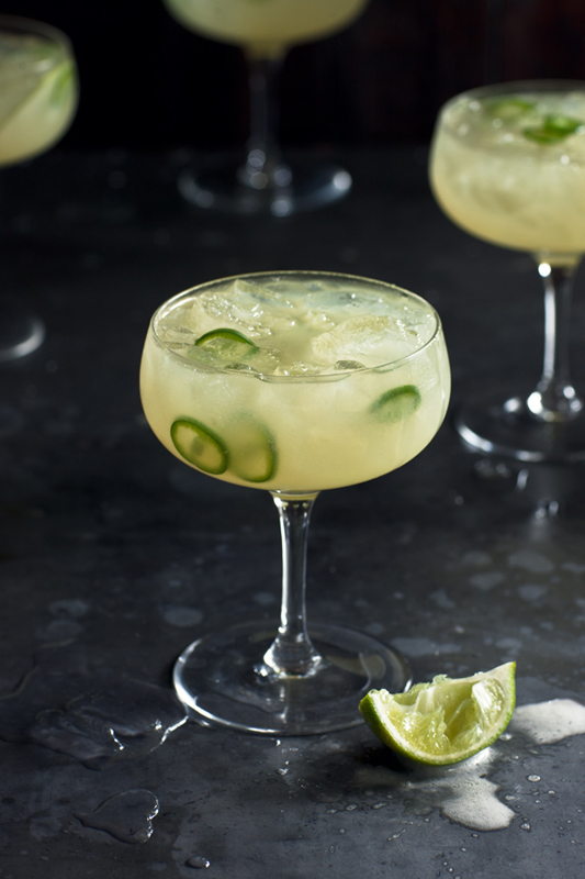 SOUR APPLE AND GREEN CHILLI MARGARITAS