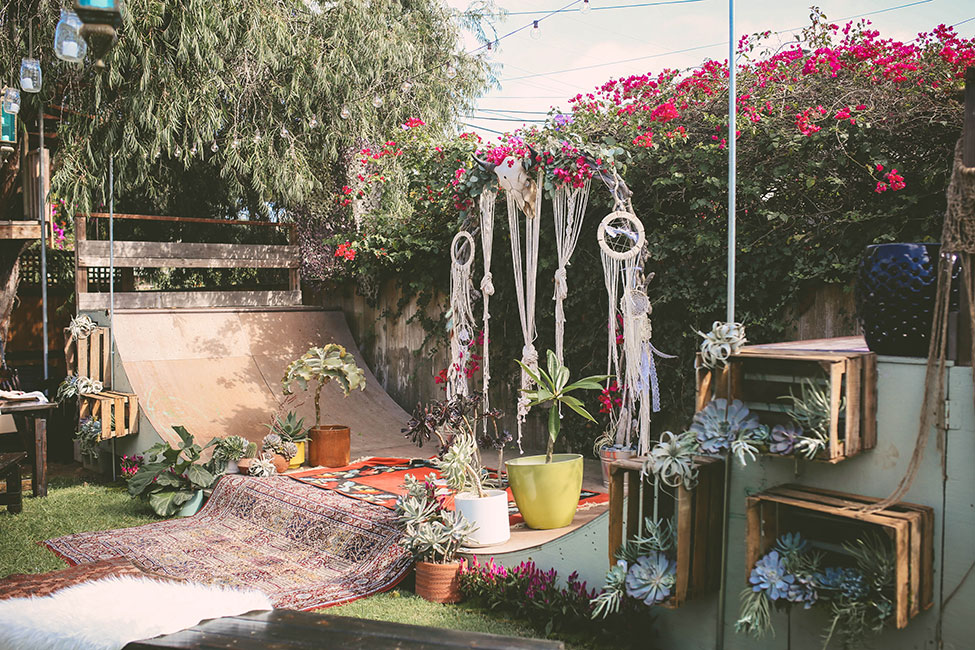 A Truly SoCal Backyard Wedding With Skater Boho Spirit | Photograph by Chris Wodjak Photography See The Full Story at https://storyboardwedding.com/socal-backyard-wedding-skater-boho/