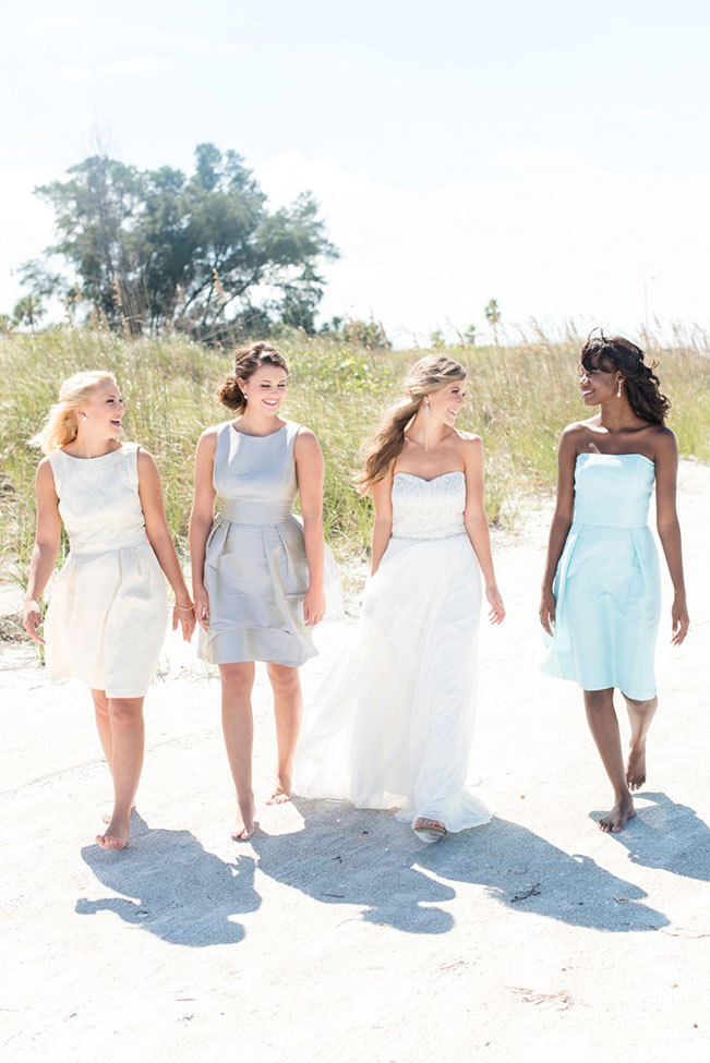 Mix-Match Dessy Bridesmaid Dresses Inspired Coastal Florida Wedding | Photograph by Caroline & Evan Photography See The Full Story at https://storyboardwedding.com/mix-match-dessy-bridesmaid-dresses-coastal-florida-wedding/