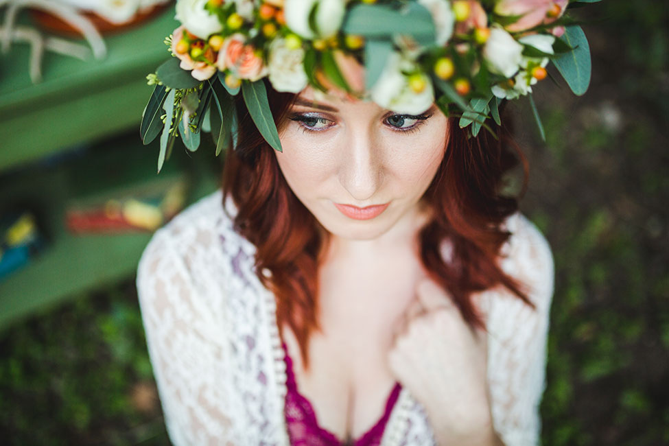 Dreamy Outdoor Private Garden Boudoir With Boho Wedding Details | Photograph by Pine and Blossom Photography   See the full story at http://storyboardwedding.com/outdoor-private-garden-boudoir-bohemian-wedding-details/
