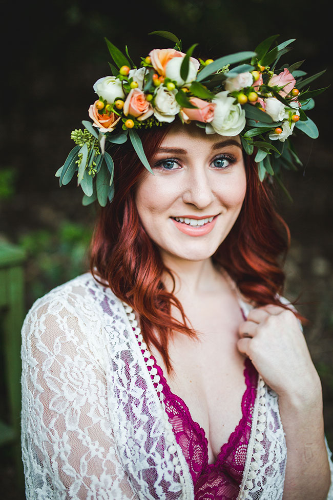 Dreamy Outdoor Private Garden Boudoir With Boho Wedding Details | Photograph by Pine and Blossom Photography   See the full story at https://storyboardwedding.com/outdoor-private-garden-boudoir-bohemian-wedding-details/