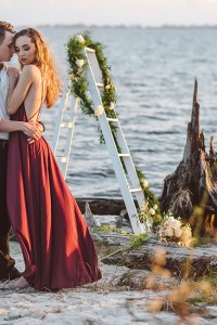 Ship Wrecked Inspired Romantic Styled Beach Engagement Session Along T...