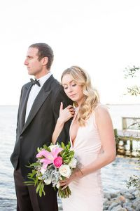 Valentine's Day Infused Sunset Beach Rose Quartz Wedding