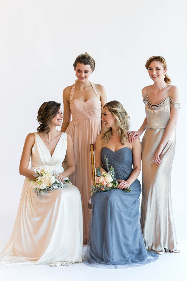 Altar Ego Mix Match Brideside Bridesmaid Dresses With Convertible Options | Photograph by Emilia Jane Photography  See the full story at https://storyboardwedding.com/altar-ego-mix-match-brideside-bridesmaid-dresses-convertible/