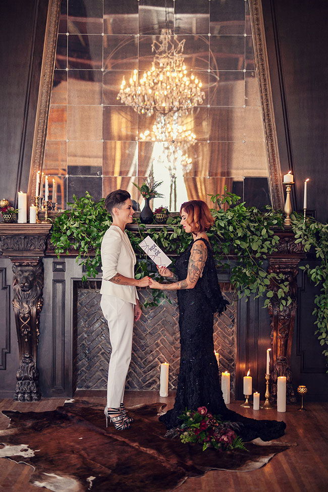 Dark & Dreamy Same Sex Geometric Wedding With Serious Estate Glamour | Photograph by Kristina Lee Photography  See The Full Story at http://storyboardwedding.com/same-sex-geometric-wedding-estate-glamour/