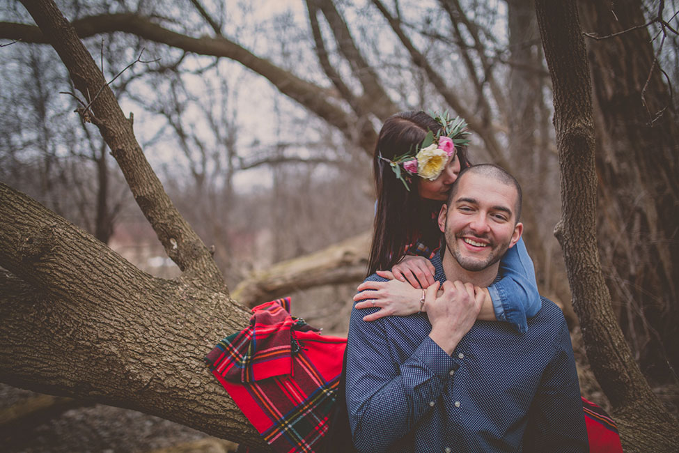 Outdoor Camping Inspired Woods Engagement Session Along The Ice Age National Scenic Trail | Photograph by McNiel Photography  See The Full Story at https://storyboardwedding.com/outdoor-camping-woods-engagement/