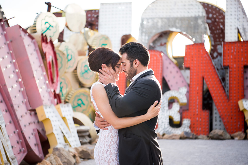 Iconic Las Vegas Neon Museum Engagement Session | Photograph by KMH Photography  See The Full Story at http://storyboardwedding.com/las-vegas-neon-museum-engagement-session/