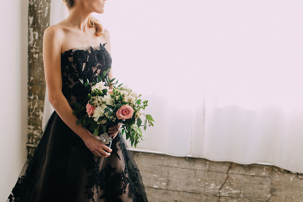 Romantic Victorian Bridal Featuring A Dreamy Black Wedding Dress | Photograph by Endless Exposures Photography
