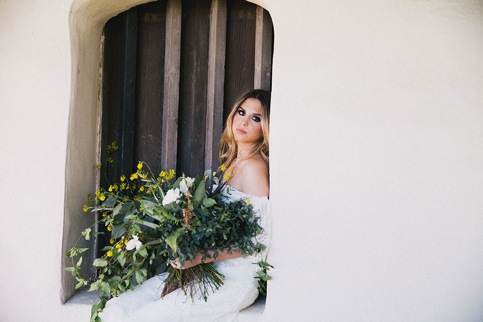 Found & Foraged Bohemian Bridals At Historical La Purisima Mission Wedding | Photograph by Alexandra Wallace See The Full Story at https://storyboardwedding.com/foraged-bohemian-bridals-la-purisima-mission/