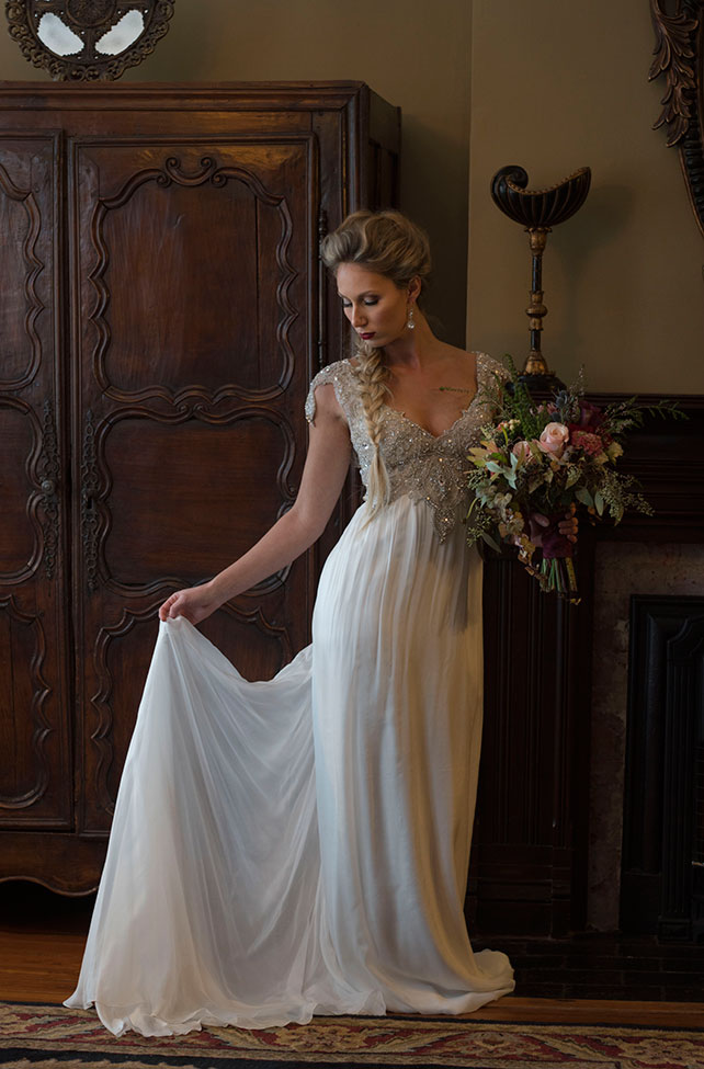 Elegantly Moody Classic Vintage Bridals At Biltmore Village Inn | Photograph by Audrey Goforth Photography