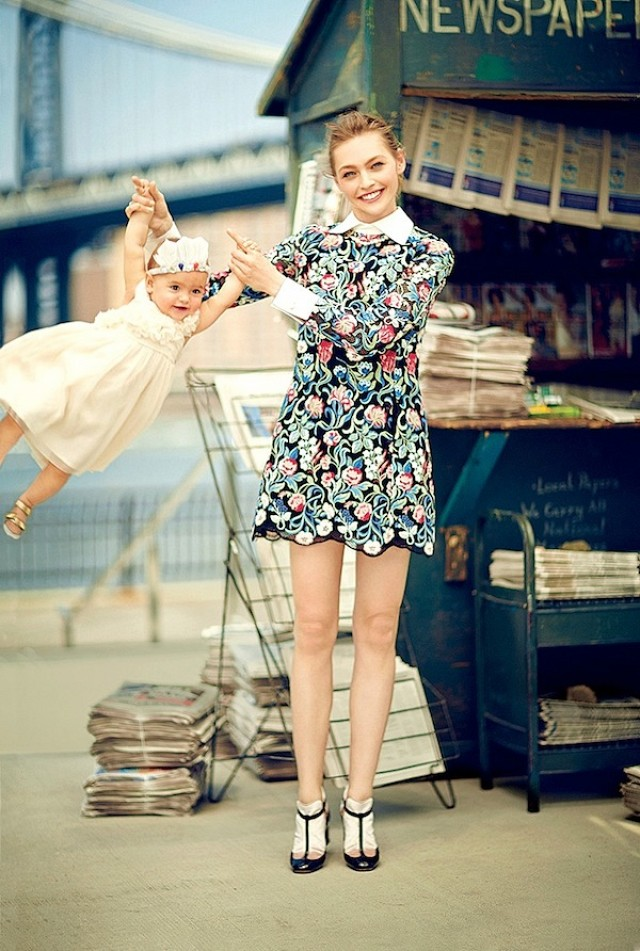 Sasha Pivovarova and daughter Mia Isis by Boo George for Vogue