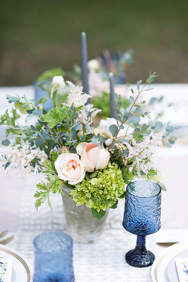 Dreamy Orchard Serenity Blue & Rose Quartz Wedding Tablescapes   Photograph by Olivia Smartt Photography See The Full Story at https://storyboardwedding.com/serenity-blue-rose-quartz-wedding-tablescapes