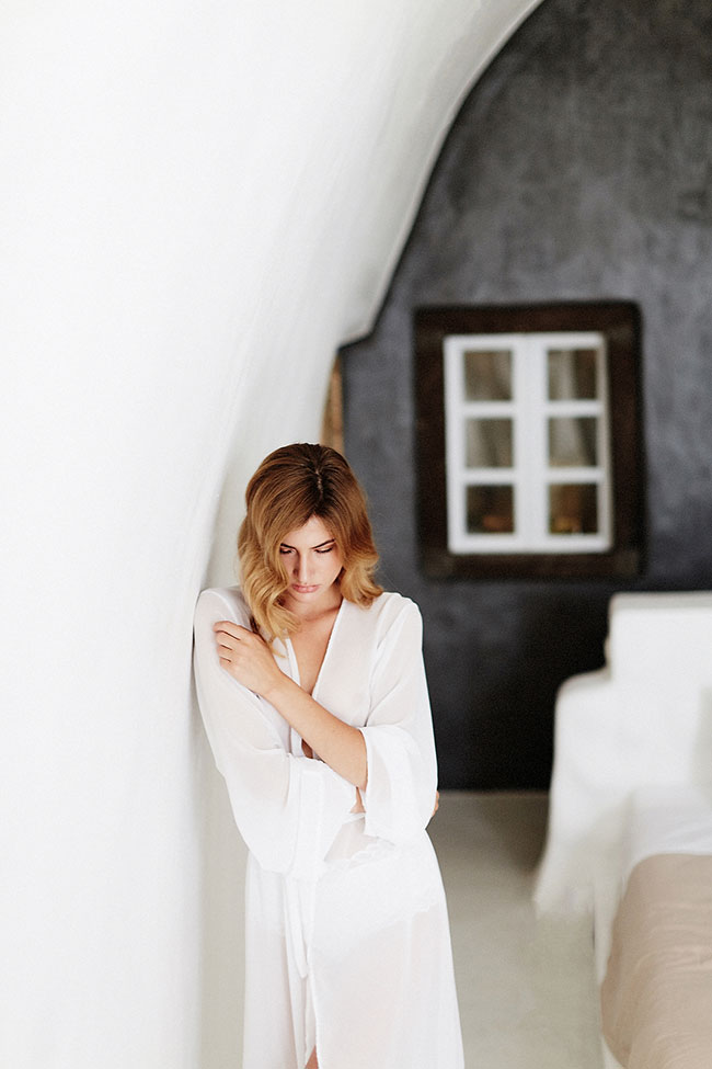 Dreamy Natural Light Boudoir In Santorini Greece