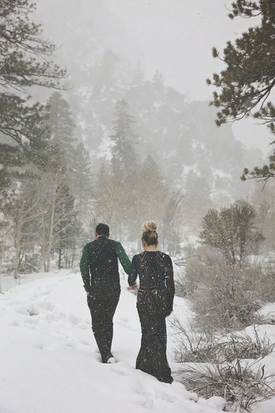 Enchanting Dark Romance Snow Filled Elopement | Photograph by Lissables Photography  See The Full Story at http://storyboardwedding.com/dark-romance-snow-elopement