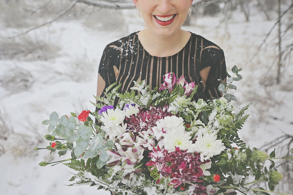 Enchanting Dark Romance Snow Filled Elopement | Photograph by Lissables Photography  See The Full Story at https://storyboardwedding.com/dark-romance-snow-elopement