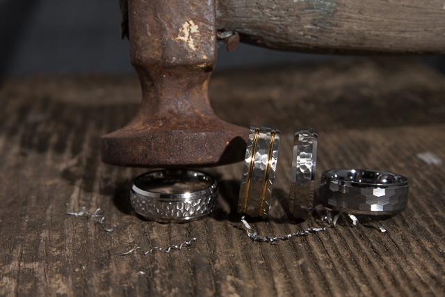 Hammer Finish Mens Wedding Ring