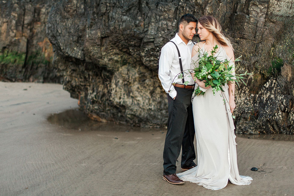 Sea Glass Inspired Moody Oregon Coast Elopement | Photograph by Blush Creative Photography  See the full story at https://storyboardwedding.com/sea-glass-oregon-elopement/