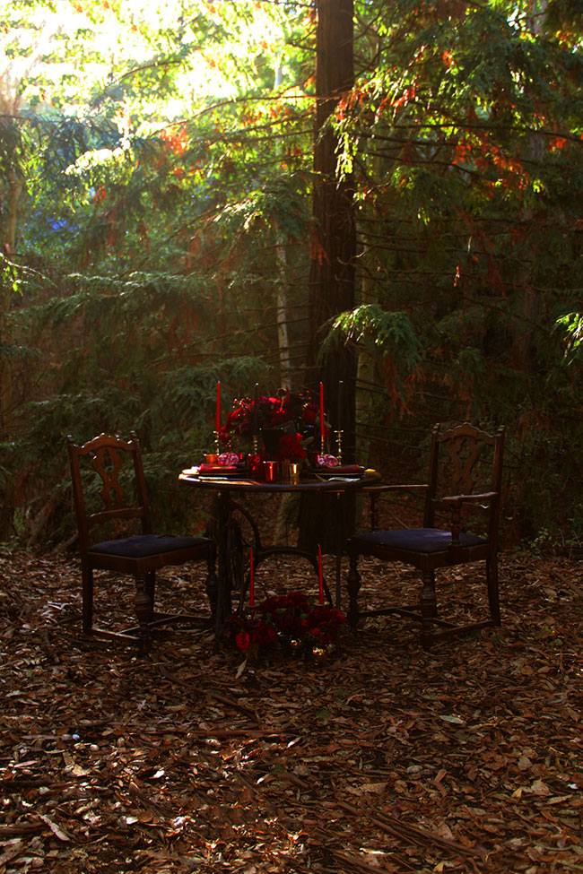 Dark Romance - A Romantic Woodland Wedding | Photograph by The Byrd Sisters Films  See the full story at http://storyboardwedding.com/dark-romance-rom…woodland-wedding/