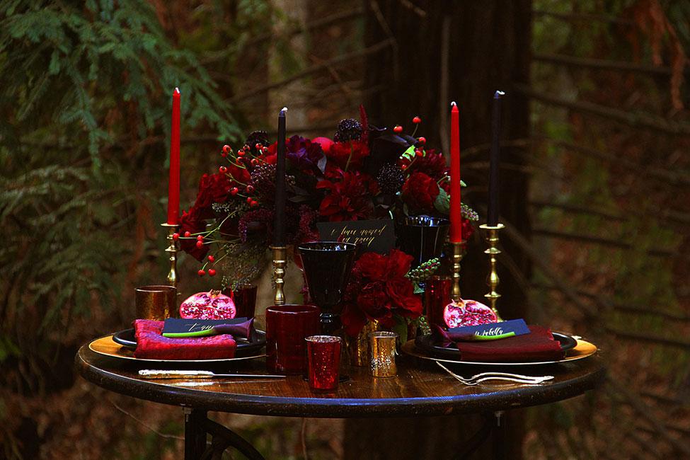 Dark Romance - A Romantic Woodland Wedding | Photograph by The Byrd Sisters Films  See the full story at https://storyboardwedding.com/dark-romance-rom…woodland-wedding/