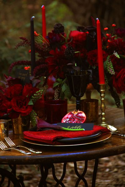 Dark Romance - A Romantic Woodland Wedding   Photograph by The Byrd Sisters Films  See the full story at http://storyboardwedding.com/dark-romance-rom…woodland-wedding/