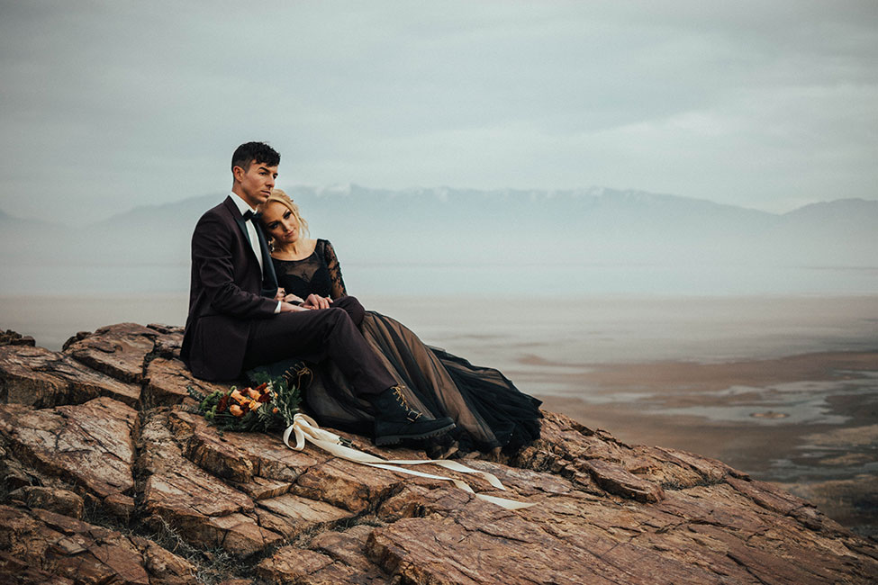 Brooding Romance Antelope Island Utah Wedding | Photograph by Ashley Smith Photography  See the full story at https://storyboardwedding.com/antelope-island-utah-wedding-brooding-romance