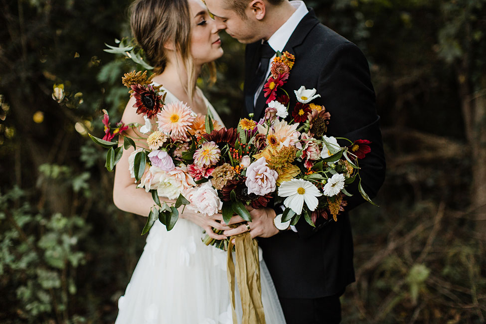 Early Autumn Golden Hour Dream Forest Wedding At Historic Castle Rock | Photograph by Rachel Fugate  See the full story at https://storyboardwedding.com/autumn-golden-hour-forest-wedding-castle-rock/
