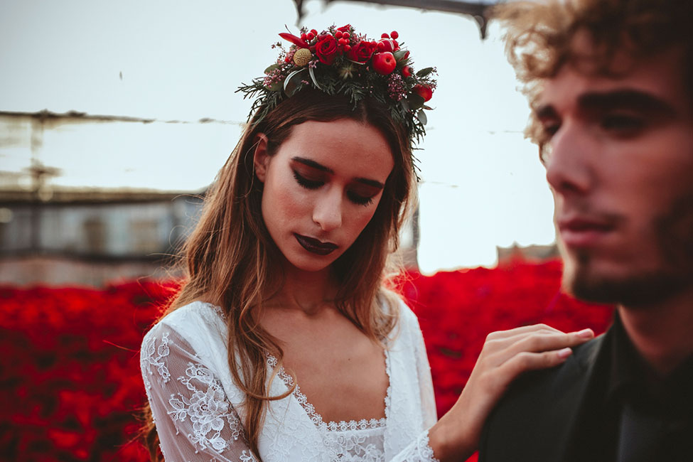 Poinsettia Farm Red Essence Spanish Wedding With Eclectic Detailing | Photograph by Carlos Lucca Fotografo  See the full wedding at https://storyboardwedding.com/poinsettia-farm-red-essence-spanish-wedding-eclectic-details/