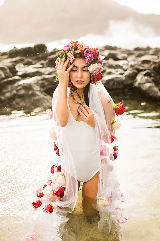 Makapuu Beach Sunrise Hawaiian Boudoir Adorned By Roses | Photograph by Vanessa Hicks Photography  See the full story at
