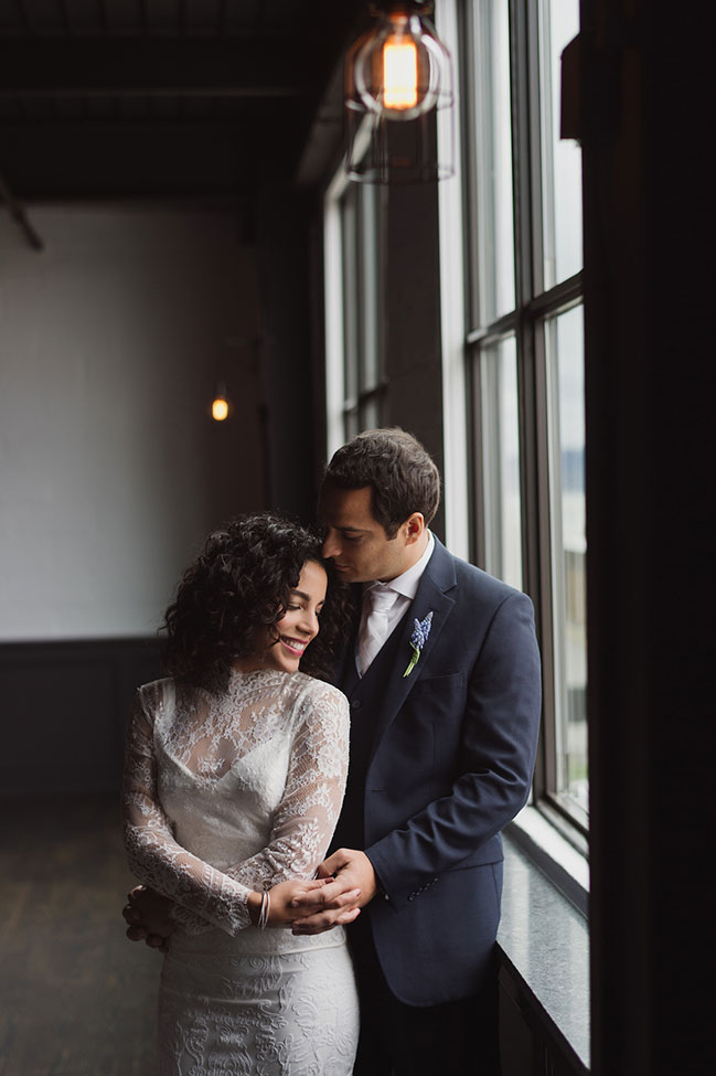 Hudson Valley Minimalist Loft Wedding With Tropical Detailing | Photograph by Stacy Able Photography + Stefy Hilmer Photography  See the full wedding at  http://storyboardwedding.com/hudson-valley-minimalist-loft-wedding/