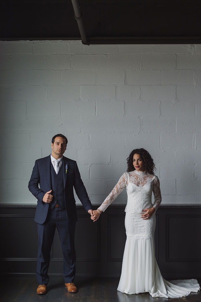 Hudson Valley Minimalist Loft Wedding With Tropical Detailing | Photograph by Stacy Able Photography + Stefy Hilmer Photography  See the full wedding at  https://storyboardwedding.com/hudson-valley-minimalist-loft-wedding/