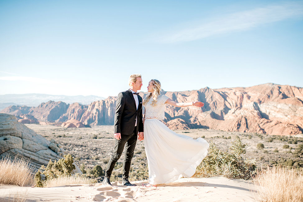 Snow Canyon Park Sunrise Utah Elopement | Photograph by Imiloalife Photography  See the full feature at http://storyboardwedding.com/snow-canyon-park-sunrise-utah-elopement/