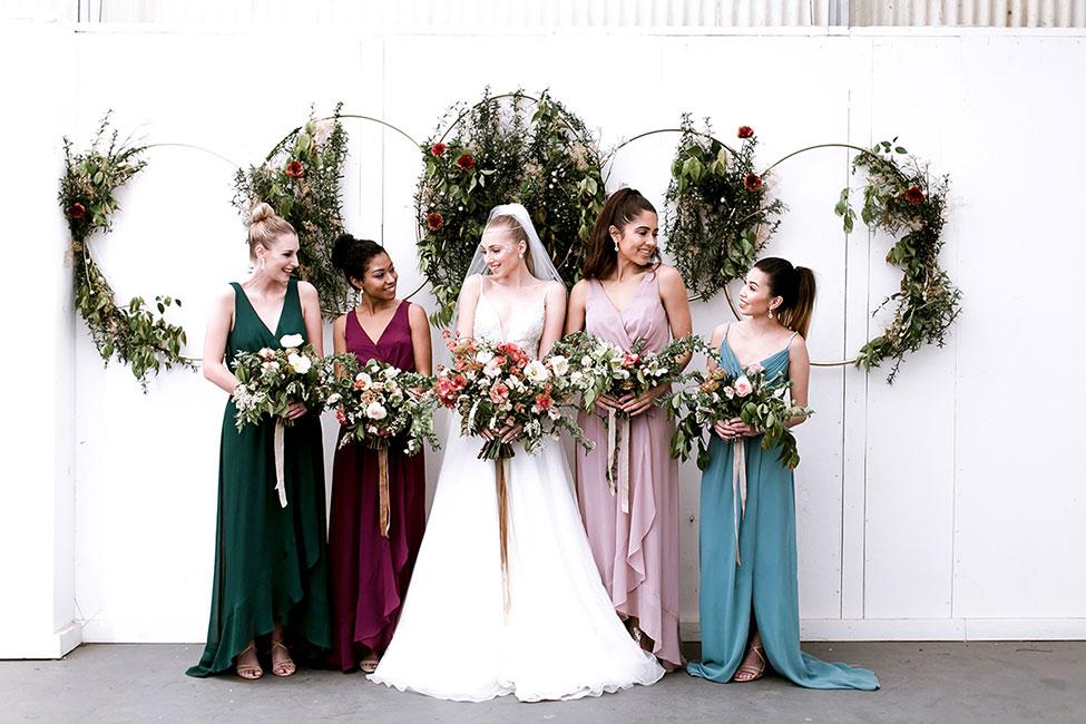 015373f3cc27 Modern Celestial Wedding Inspired By Davids Bridal Jewel Tone Bridesmaid  Dresses